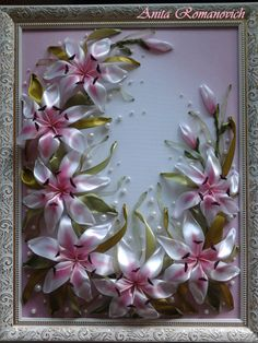 Pink lilies #ribbonEmbroidery