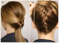 9.  Turn it inside out -Put all of your hair in a low, loose ponytail. -Once the elastic is secure, loosen the ponytail base even more with your fingers by pulling the elastic outwards. -Starting underneath, put two fingers up through the base of your ponytail, creating a small hole. -Flip the ponytail upwards and pull it down through the hole with your fingers. -Once it's through, pull it tight and smooth out any bumps.#hair