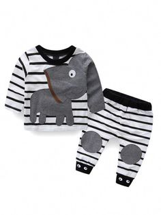 Buy Kids Baby Boys Girls Elephant Outfits Stripe Shirt Tops+Pants Casual Clothes Set - White - online, more latest style of Boys' Pant Sets sale at affordable price. Baby Boy Clothes Hipster, Boys And Girls Clothes, Toddler Girl Outfits, Cute Baby Clothes, Kids Outfits, Toddler Shoes, Kid Shoes, Baby Boy Fashion, Kids Fashion