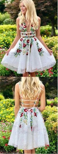 Simple Short Lace White Homecoming Dress with Appliques,V Neck Short Prom Dress, Above Knee Formal Dresses, Homecoming Dresses Belted Dress, Bodycon Dress, Cheap Short Prom Dresses, Floral Homecoming Dresses, Formal Dresses, Bridesmaid Dresses, Bleu Royal, Ribbed Knit Dress, Outfit Trends