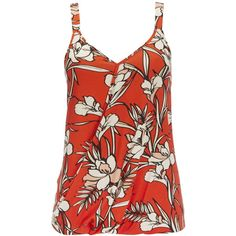 Tropical Floral Printed Cami ($28) ❤ liked on Polyvore featuring tops, orange, cami tank, sleeveless tank, red tank top, sleeveless tank tops and slimming tank