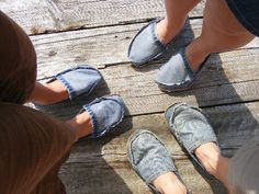 Class: DIY Footwear using recycled jeans | Flickr - Photo Sharing!  Perfect for GO boxes!!! (Although I would put the seam inside) :)