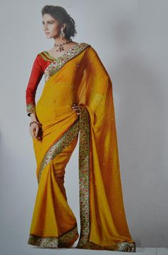 yellow and red sarees