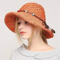 Beaded crochet straw sun hat for women summer beach wear. Crochet Summer  HatsCrochet ... e6b198091fee