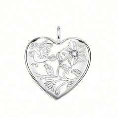 Wunderschön!! THOMAS SABO Sweet Diamonds heart medallion with eyelet, made from 925 Sterling silver, with a  diamond (0,014 ct) / round brilliant-cut, size: 2.1 cm.