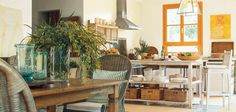 Here's a modern take on a country kitchen. Shown on the walls is Pratt & Lambert Powdered Knees CL076. The window is painted with CL134 Summerset Orange. The accent color is CL105 Cattle Iron.