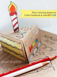 Craft Paper Cake colored with Prismacolor Pencils! Paper Cake, Diy Paper, Paper Crafts, Diy Birthday, Birthday Cards, Birthday Gifts, Origami, Cumpleaños Diy, Packaging Box
