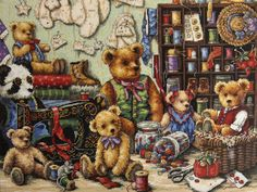 Gold Collection Dimensions Buttons n Bears Counted Cross Stitch Kit Teddy Sewing…