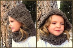 Design Adventures: Childs Quick Hooded Cowl (I would be tempted to add a drawstring {with pom-poms at the end} to tighten hood around face.
