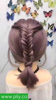 Hairdo For Long Hair, Long Hair Video, Easy Hairstyles For Long Hair, Braids For Short Hair, Braided Hairstyles, Front Hair Styles, Medium Hair Styles, Short Hair Hacks, Girl Hair Dos