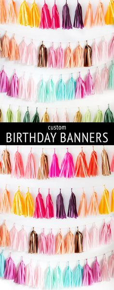 Custom birthday party banners! Pick your own colors to match your party theme. It's easy + fast.