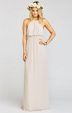 Love love love this half halter half two strapper gown. Amanda Maxi is perfect to show off those shoulders that everyone has been working on in bar and pilates classes. And she's cinched in to give a flowy and flattering silhouette. She looks great with simple little chokers or super long pendants. And a flower in the hair, of course!   *MADE IN THE GORGE USA* *I Come in…