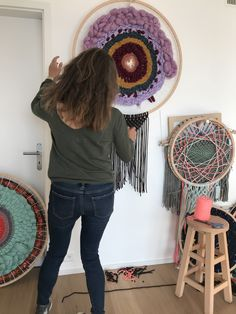 Textiles, Art Textile, Decoration, Dream Catcher, Chili, Creations, Home Decor, Circular Weaving, Merino Wool