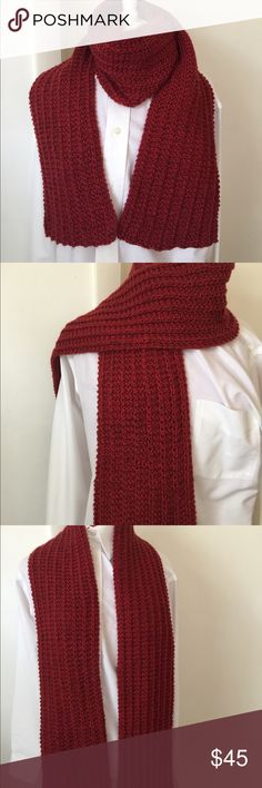 Red Heather Scarf Hand knitted by me. Soft to the touch. Can be used in a variety of ways. Unisex Heaven Sent Knits Other