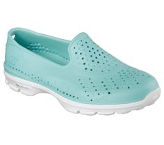010bdc8242f1 Splash around in comfort with the SKECHERS shoe. One piece Skech Flex  sculpted EVA plastic foam upper in a slip on casual aqua shoe with  perforation accents ...