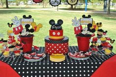 Mickey Mouse birthday party cake table