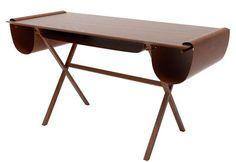 Oscar desk Natural wood / Brown leather / Cuir marron | Desk Valsecchi 1918