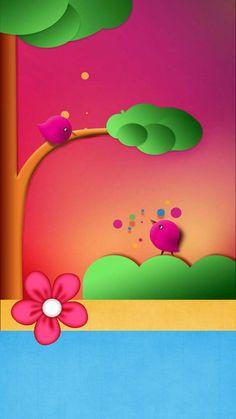 Cute Little Birds Wallpaper. Owl Wallpaper, Pretty Phone Wallpaper, Flowery Wallpaper, Rainbow Wallpaper, Hello Kitty Wallpaper, Wallpaper Iphone Disney, Locked Wallpaper, Butterfly Wallpaper, Cellphone Wallpaper