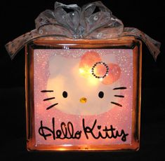 I want this for my birthday! Its next week yall...hehee..Sparkly Hello Kitty Glass Block Light by lightsinthesquare on Etsy, $22.00