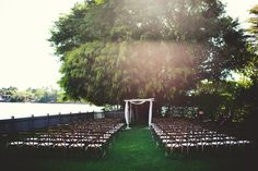 Waterside Ceremony Setting with Birchwood Arch.