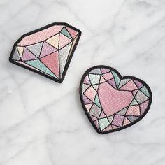 Pierres précieuses-fer sur - Set de 2 patchs-diamant & coeur Gem ecussons brodés - Appliques - Pastel