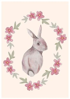 Floral Rabbit, Giclée print (from a painting) by Bex Parker | Artfinder