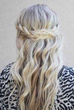half up half down wedding hair with plait