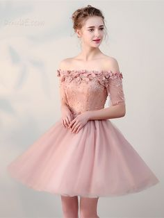 A Line Off The Shoulder Half Sleeve Lace-Up Homecoming Dress