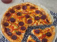 pâte brisée, poivron rouge, poivron vert, chorizo, oeuf, crème fraîche, poivre, Sel