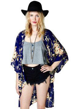 Adelicia Kimono on Wanelo Teen Fashion, Boho Fashion, Damsel In This Dress, Summer Outfits, Cute Outfits, Kimono Top, Blue Kimono, Summer Kimono, Kimono Jacket