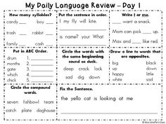 My Daily Language Review book - 14 days of practice of syllables, sentence order, I or me, ABC order, compound words, opposites, fixing sentences, and identifying words with same beginning sound