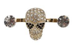 Anel Duplo Skull Dourado Strass http://www.acessoriosnamoda.com.br