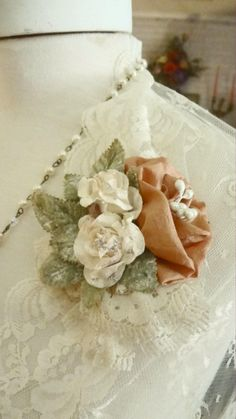 Excited to share the latest addition to my #etsy shop: Handmade Mori Girl Brooch, Peach and Cream Roses and Cream Lace Hair Clip, Flower Pin, Shabby Chic Pin, Bridal Fascinator,Bertha Louise http://etsy.me/2mVSZSb #weddings #accessories #morigirl #shabbychic #bridalfas