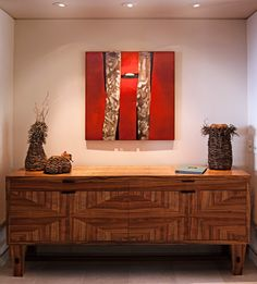 """Block 97"" - by Pascal - Mixed Media and Mahogany Wall Sculpture - Private Collection - Curated by: Paia Contemporary Gallery (Maui, Hawaii)"