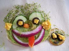 wholly-guacamole sandwich faces self portraits kids lunch ideas