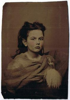 """Original sixth plate (2.5 by 3.75"""") tinted tintype of a young lady identified in…"""