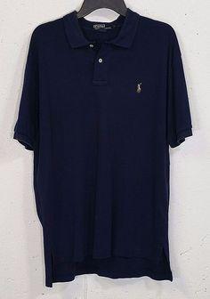 Polo Ralph Lauren Mens Navy Blue Smooth 100% Cotton Short Sleeve Polo Shirt L #PoloRalphLauren #PoloRugby