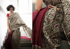 Kalamkari Sarees - Maroon half and half kalamkari cotton by Suta - PC12098 - 1