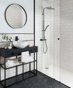 Metro white tile with black rim and hexagon floor tiles! Bathroom Tile Designs, Black Bathroom, Black Floor Tiles, Bathroom Interior Design, Bathroom Decor, Bathroom Design, Bathroom Flooring, White Bathroom Tiles, Tile Bathroom