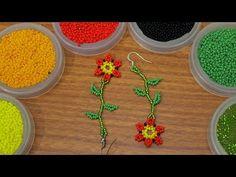Como hacer un arete en mostacilla No 3 - YouTube Handmade Beaded Jewelry, Beaded Jewelry Patterns, Beading Patterns, Beaded Bracelets Tutorial, Earring Tutorial, Jewelry Making Tutorials, Beading Tutorials, Beading Ideas, Beaded Brooch