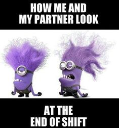 In Despicable Me 2 we were introduced to new minions, the evil purple minions. Based on the popularity of the yellow minions, these new crazy screaming purple minions are going to be very popular Halloween costumes this year. Evil Minion Costume, Minion Costumes, Night Shift Humor, Night Shift Nurse, Night Shift Quotes, Evil Minions, Minions Despicable Me, Funny Minion, Medical Humor