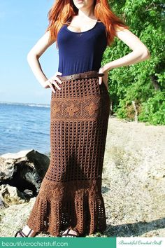 Crochet Maxi Skirt Free Pattern. From http://beautifulcrochetstuff.com/crochet-maxi-skirt-free-pattern/