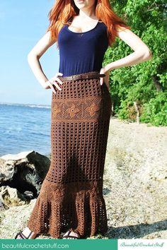Crochet Maxi Skirt Free Pattern. From http://beautifulcrochetstuff.com/crochet-maxi-skirt-free-pattern/