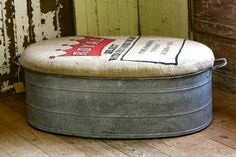 Rustic Galvanized Tub Ottoman or Bench With Feed Sack Top...can be used in summer to store cushions, radio, etc.
