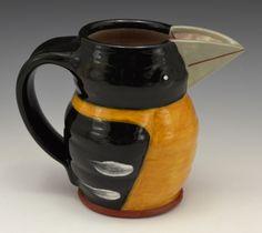 Black-Headed Grosbeak Earthenware, Stoneware, Rara Avis, Animal Sculptures, Mugs, Tableware, Black, Dinnerware, Black People