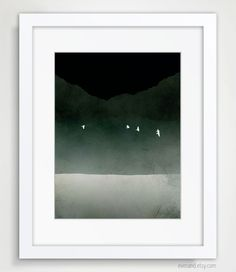 Black and White Poster, Minimalist Abstract Landscape, Modern Art.