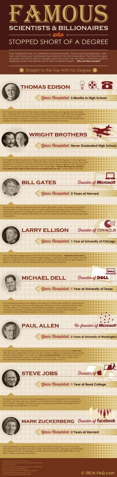 Famous scientists & billionaires who stopped short of a degree #infografia #infographic #education