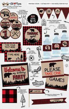 Editable Lumberjack First Birthday Party Printable Decorations