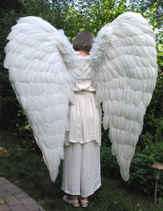Classic Downswept Huge White Feather Wings - Back view [Angel]