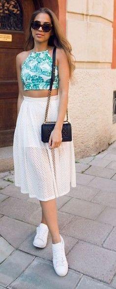 #summer #style #outfitideas |  Palm Print Halter Top + Eyelet Midi Skirt